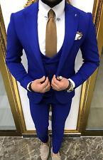 Slim Fit Herrenanzug in Blau mit Weste-Hochzeit-Bühne-Anzug-Sakko-Festlich-Party