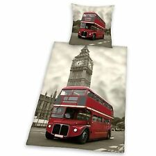 London Landmarks 100% Cotton Red Bus & Big Ben Duvet Cover Set