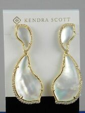 Kendra Scott Teddi Gold Plated Ivory Mother-of-pearl CZ Teardrop Earrings