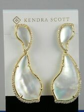 Authentic Kendra Scott Teddi Earrings Ivory Mother of Pearl Silver Plated