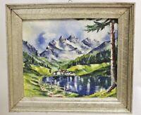 Gemälde  Schultz 1946  Gebirge mit See