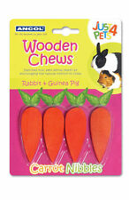 Ancol Rabbit Chews Gnaws Carrot Shaped Scented Wooden Nibbles Pack of 4