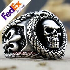 Turkish 925 Sterling Silver Gothic Skull Biker Luxury Men's Ring All Sizes
