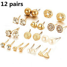 12Pairs Women Triangle Heart Stud Girl Pearl Crystal Earring Set Jewelry CHI