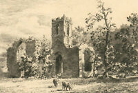 Henri Toussaint (1849-1911) - Late 19th Century Etching, Mount Grace Priory
