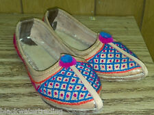 Vintage Small Yarn Embroidered Leather Handmade Shoes Age and Maker Unknown