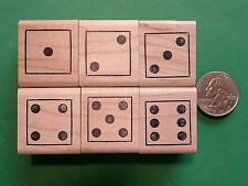 Teachers Rubber Stamp Set of 6 Dice, wood mounted rubber stamps
