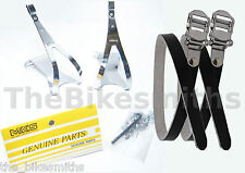 MKS STEEL Medium Toe Clips & BLACK Leather Straps Urban Track Road Bike Pedal