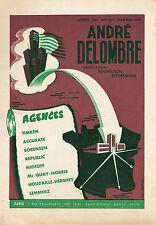 PUBLICITE   DELOMBRE IMPORTATION PIECES DETACHEES  /  ACCESSOIRES  AUTO AD 1957