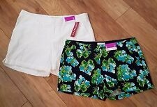 MERONA womens 8 100% Cotton shorts LOT OF 3 White eyelet & Navy multi floral NWT