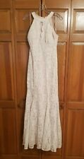 Nightway Sleeveless Halter Lace Evening Gown - Size 8 - Ivory Nude