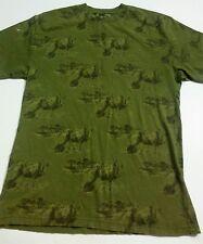 Ecko Unltd Men's T-Shirt Size Large Green Rhinoceros Print Flawed
