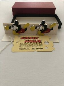 Vintage Hickok Mickey Mouse Cufflink With Tag & Box Original