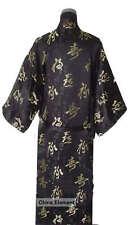 Black Chinese Men's Silk Satin Kimono Robe Gown S-3XL