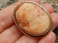Vintage Genuine Shell Cameo Brooch Bale for Pendant Necklace