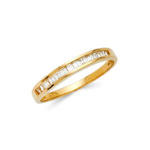 Women 14k Yellow Gold Eternity Engagement Anniversary Bridal Wedding Ring Band