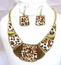 Leopard Skin Fashion Costume Necklace Earring Jewellery Set