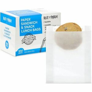 Greaseproof Paper Bakery Bags for Cookies, Bread, and Snacks (8 x 6 x 2 In, 100)