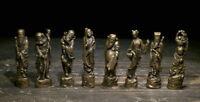 Old Chinese Folk Myth Bronze Taoism 8 Eight Immortals God Statue Sculpture Set