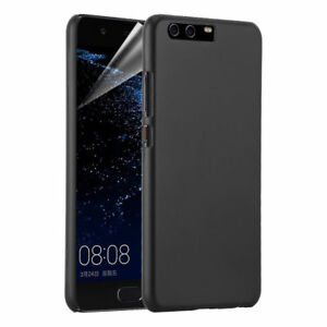 Phone Case For Huawei P10 Black Hybrid Hard Back Cover & Screen Protector UK