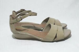 Supersoft by Diana Ferrari Size 8 Womens Olive Leather OpenToe Mini Wedge Sandal