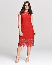 AX PARIS Stretch lace midi dress red uk plus size 28 -  (ref rail 13)