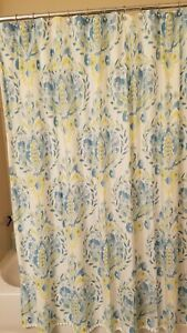Dena Home fabric shower curtain, preowned, Ikat pattern