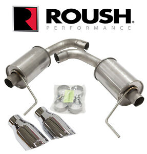 """2015-2017 Ford Mustang GT 5.0 V8 Axle Back Exhaust 4"""" Tips ROUSH 421834"""
