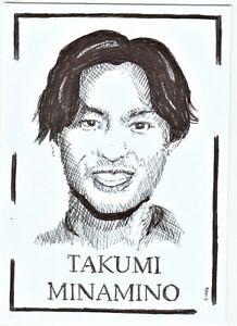 ACEO Art Sketch Card Sportsman Footballer Takumi Minamino Ink Drawing