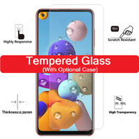 For Samsung A12 A51 A21S A71 S20 FE Tempered Glass Screen Protector / Case Cover