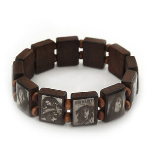 Brown Wood Stretch Bob Marley/ One Love Bracelet - 20cm L