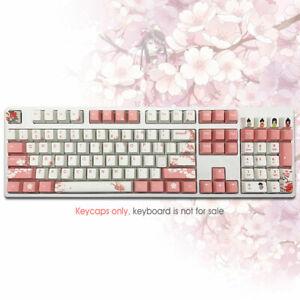 108 Pink Cherry Blossom PBT Keycaps Set Dye Sub OEM ANSI Fit Cherry MX Keyboards
