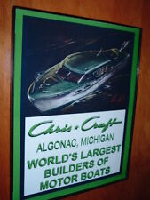 Chris Craft Wood Boat Yacht Green Garage Framed Advertising Print Man Cave Sign