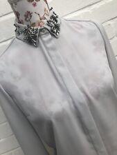 BNWT River Island Size 6 Blouse Shirt Light Grey Embellished Collar Jewel Blog