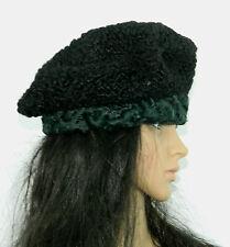 BLACK GREEN PERSIAN LAMB ASTRAKHAN BROADTAIL FUR HAT BERET Sz.22.5'' (M)  n271