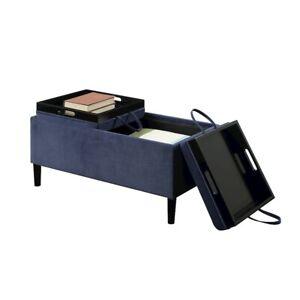 Convenience Concepts Designs4Comfort Magnolia Storage Ottoman, Blue - 143042BE