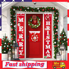 Merry Christmas Banner Christmas Porch Sign Decorations for Door or Wall Hanging