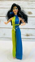 "MATTEL BARBIE Asian Doll Black Hair Brown Eyes Green Blue Outfit 12"" Tall Used"