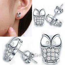 Korean Fashion Crystal Cute OWL Ear Stud Silver Plated Earrings
