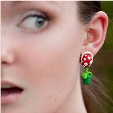 3D Damen Mode Piranha Plant Polymer Clay Stud Earrings Blumen-