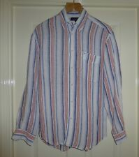 QUALITY FACONNABLE MIXED RED BLUE STRIPED 100% LINEN SHIRT, MENS SMALL