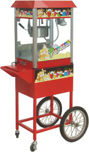 Brand New Popcorn Machine Popcorn Maker 220V 8oz With Stand Cycle Cart