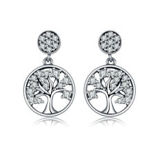 Dangling Sterling Silver Earrings Tree of Life solid 925 with Clear CZ for Women