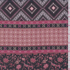 Black/Berry Pink Floral Diamond Stripe Chiffon, Fabric By The Yard