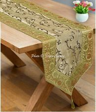 Indian Decorative Jacquard Silk Table Runner Center Table Cloth Gold Decoration