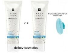 2 x Avon True Nutra Effects Gentle Scrub Cleanser FREE BRUSH~ Normal / Dry Skin