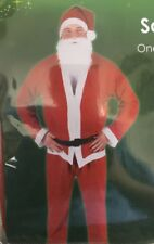 Adult Unisex Santa Suit/Outfit-One Size Fits Most-Hat,Jacket,Beard,Belt,Trousers