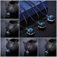 Sternzeichen Halskette Kette Horoskop Astronomie Tierkreiszeichen Anhänger Glas