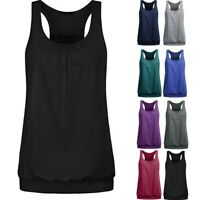 Women Sleeveless O-Neck Wrinkled Loose Racerback Workout Tank Top Blouse S-2XL