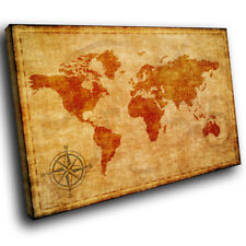 SC630 Cool Retro Brown World Map Vintage Canvas Wall Art Large Picture Prints